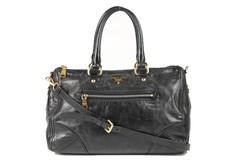 7e5106c6b14de Prada Two-Way Bag mit Aussenfach Schwarz Leder